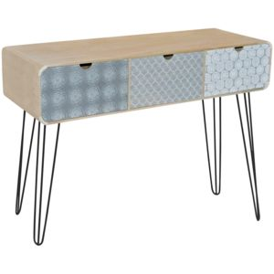 promobo console sellette rangement meuble 3 tiroirs. Black Bedroom Furniture Sets. Home Design Ideas