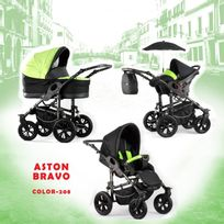 Autre - Poussette trio Aston Bravo noir vert châssis silver roue alpha silver