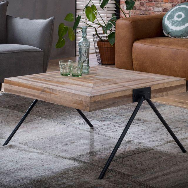Nouvomeuble Table basse carrée 80 cm en teck et métal Russell