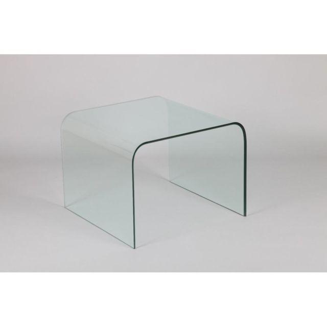 Inside 75 Bout de canapé carré Cristalline en verre