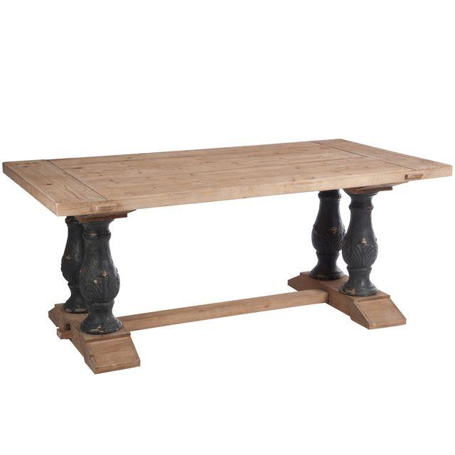 Jolipa table à manger rectangle bois naturel/noir antique 180x100x77cm