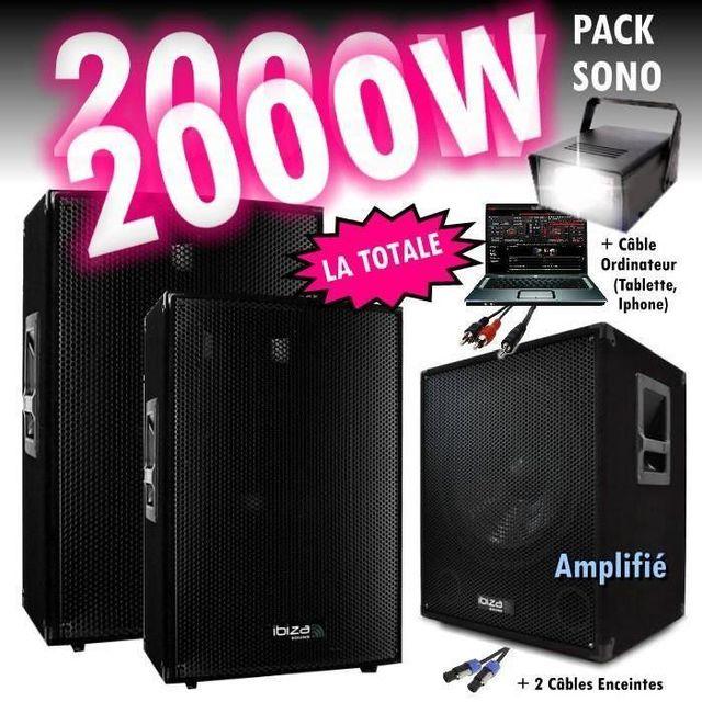 Ibiza Sound Pack sono dj 2000w cube 1512 avec caisson - encentes - cables hp et pc - jeux de lumière strobo led pa dj led light soun