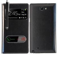 Vcomp - Coque Etui Housse Pochette Plastique View Case pour Samsung Galaxy Note 2 N7100/ N7105 + stylet - Noir