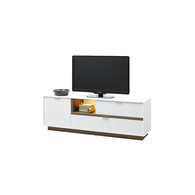 meuble tv 176x59x43cm blanc mat et bois naturel sebpeche31. Black Bedroom Furniture Sets. Home Design Ideas