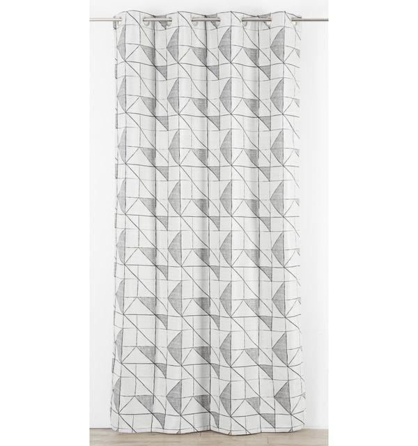 Homemaison rideau en jacquard graphique reversible gris pas cher achat vente rideaux for Rideau graphique