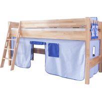 comforium lit mi hauteur enfant 90x200 avec tente de jeu bleu - Tente De Lit