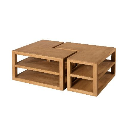 Table basse L bipartite Hambourg - bois naturel
