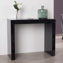 Somobilia - Table console extensible bois noir avec 5 rallonges Extend