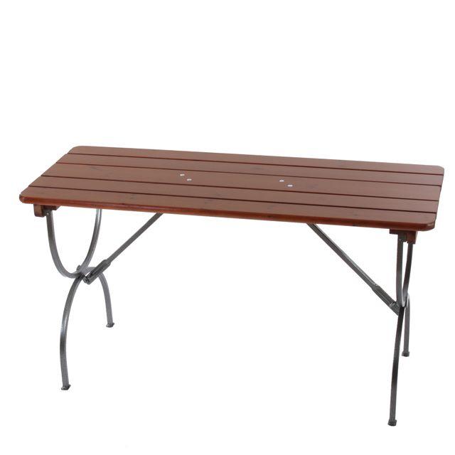 Mendler Table de jardin Linz, bois massif, pliable, 150x60x81cm