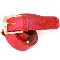 Independent - Ceinture cuir Doc rouge et or