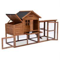 Poulailler en bois GELINE, cage à poule de 193x75x115cm