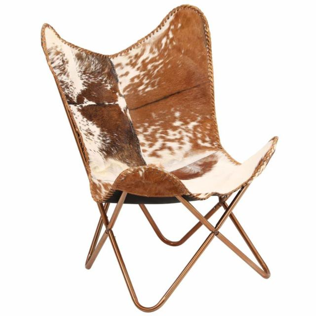 Fauteuil chaise siège lounge design club sofa salon cuir véritable de  chèvre marron/blanc forme de papillon 1102145/2