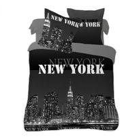 Dourev - Housse de couette 240x260 cm New York noir 100% coton + 2 taies