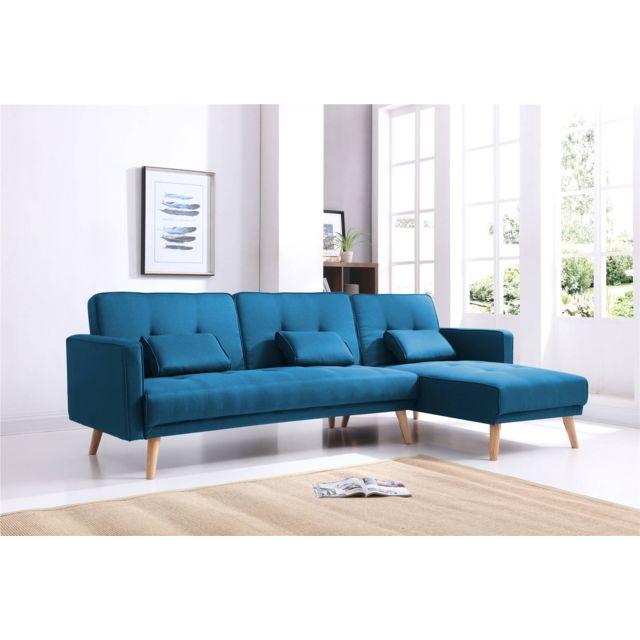 BOBOCHIC - SCANDINAVE - Canapé d'angle réversible convertible - 267x151x88cm - Bleu Bleu canard - 151cm x 88cm x 267cm