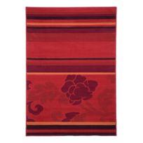 Mon Beau Tapis - Tapis Massai Lignes Fleurs 170x120cm, Rouge