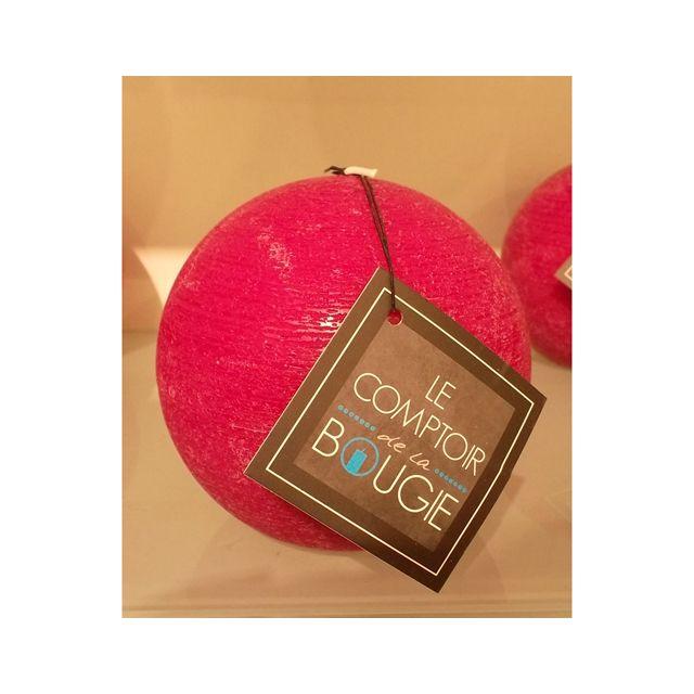 Comptoir Des Bougies Bougie boule Rustic - Diam. 10 cm - Fuchsia