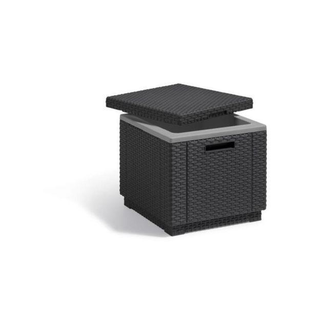 ALLIBERT-JARDIN ALLIBERT Table basse isotherme imitation rotin tressé - 42x42x41 cm - Gris