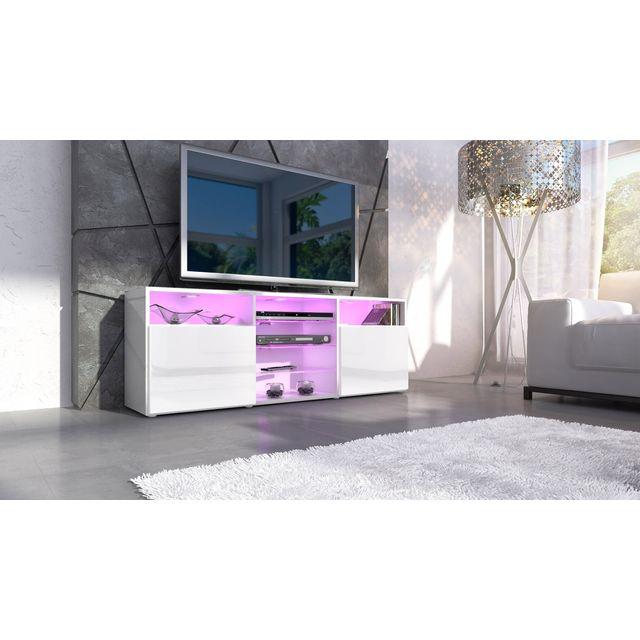 Mpc Meuble design tv blanc façade laquée sans led