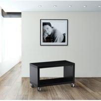 Kit A Faire - Meuble Tv Avec Roulettes Moderne Laque Noir Brillant