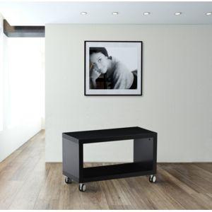 kit a faire meuble tv avec roulettes moderne laque noir brillant noir et blanc pas cher. Black Bedroom Furniture Sets. Home Design Ideas