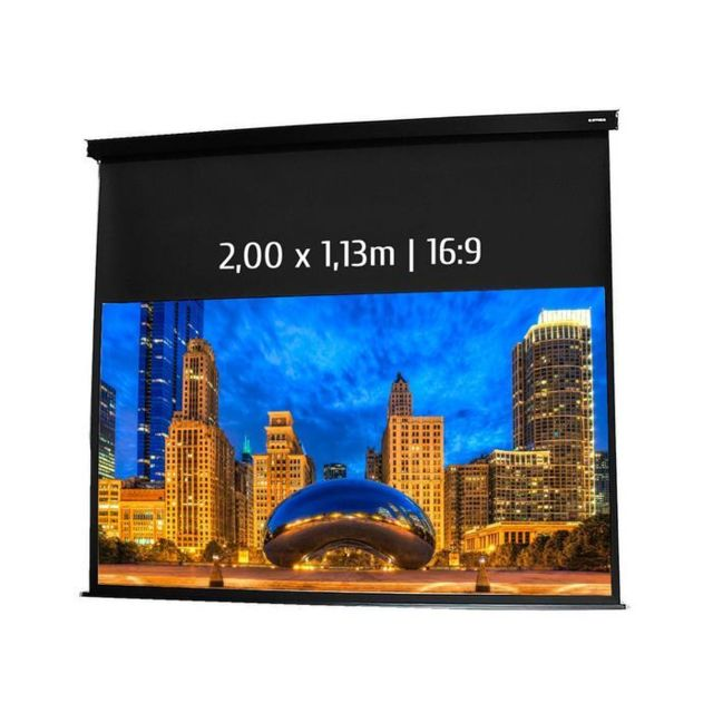 Kimex Ecran de projection motorisé 2,00 x 1,13m, format 16