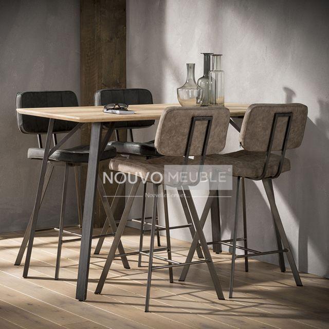 Nouvomeuble Table bar couleur bois et acier Woodland