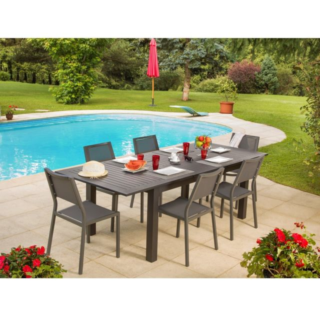 Ozalide Salon De Jardin Matis 1 Table A Rallonge 6 Chaises