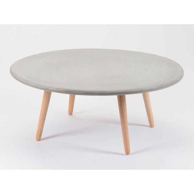 Korb Table basse ronde plateau en ciment et piètement bois D90 cm Granito