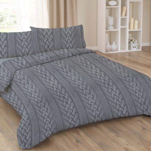 100pourcentcoton parure drap plat drap housse 160x200 cm 2 taies d 39 oreiller 65x65 cm argent. Black Bedroom Furniture Sets. Home Design Ideas