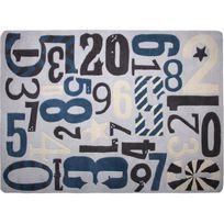 1 Pied Sur Terre - Tapis Imprenta chambre bébé garçon par - Couleur - Bleu, Taille - 130 x 190 cm