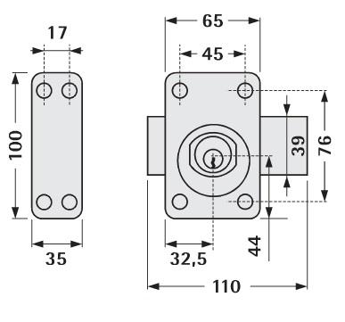 72534f4e378 VACHETTE - Verrou V136 à bouton cylindre L.40mm ASSA ABLOY - pas ...