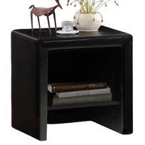Comforium - Table de chevet 40 cm en simili cuir coloris noir