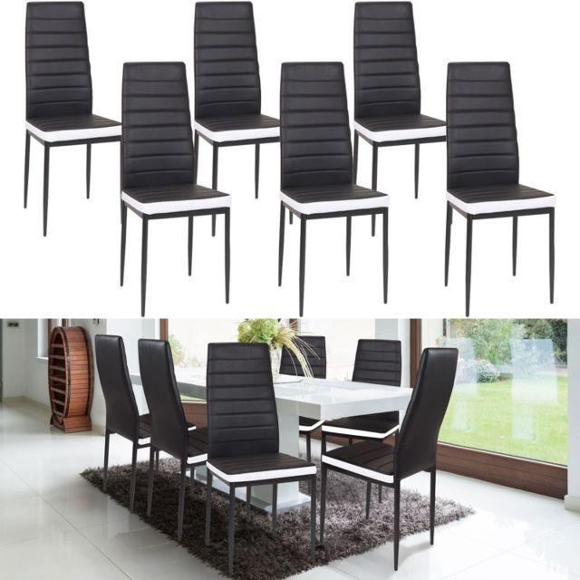 idmarket lot de 6 chaises romane noires bandeau blanc pour salle manger pas cher achat. Black Bedroom Furniture Sets. Home Design Ideas
