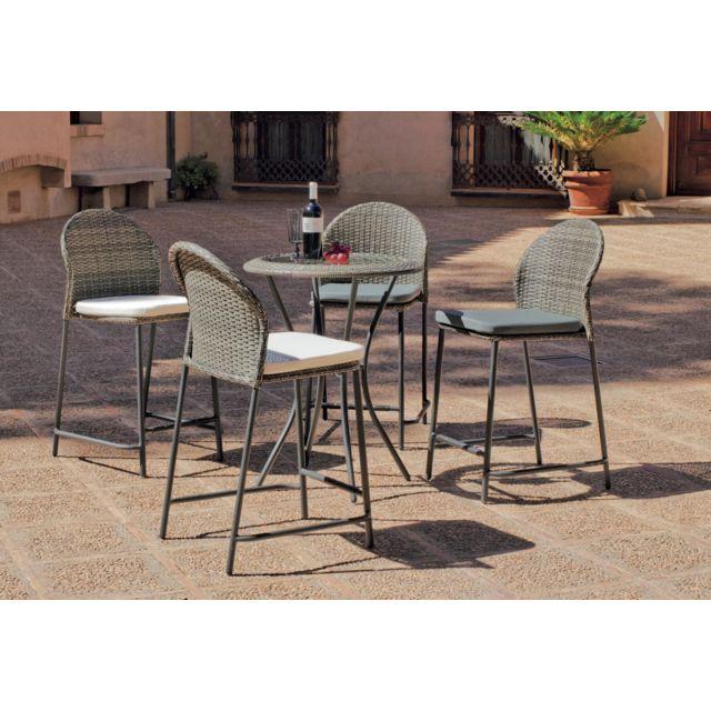 Hevea - Ensemble de Table haute de jardin 75x75 cm + 4 ...