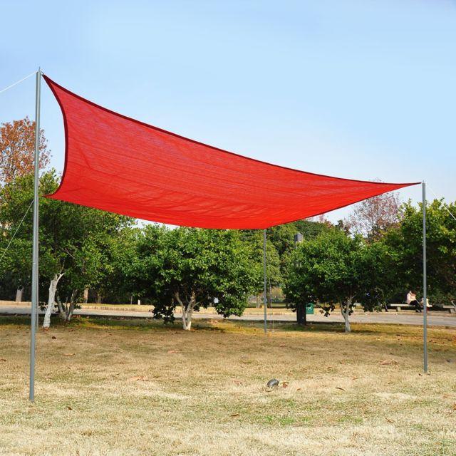 outsunny voile d 39 ombrage rectangulaire 3 x 4 m poly thyl ne haute densit r sistant aux uv. Black Bedroom Furniture Sets. Home Design Ideas