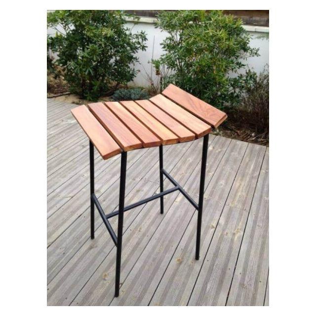 Mathi Design Lounge - Tabouret de bar en bois et acier noir