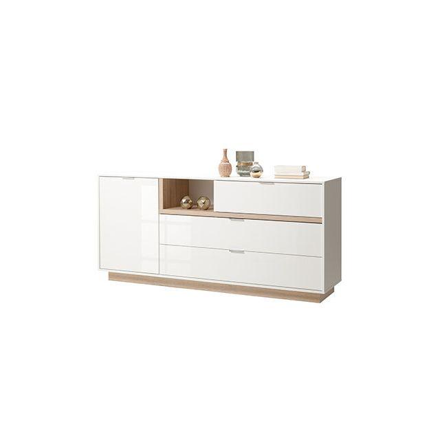 Meuble Tv 176x81x43cm blanc brillant et bois naturel