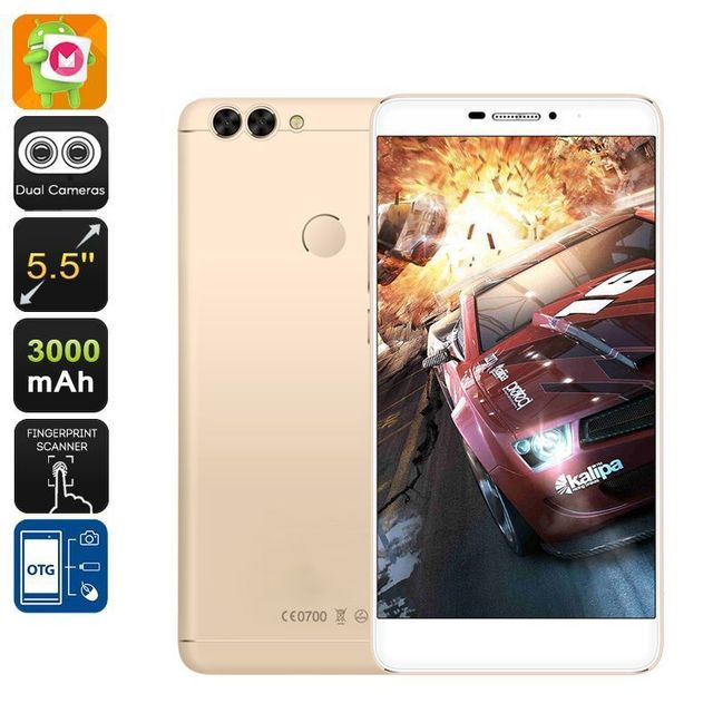 Yonis Smartphone 5.5 Pouces 4G Dual Sim Android 6.0 Fhd Dual Caméra 16Go Or