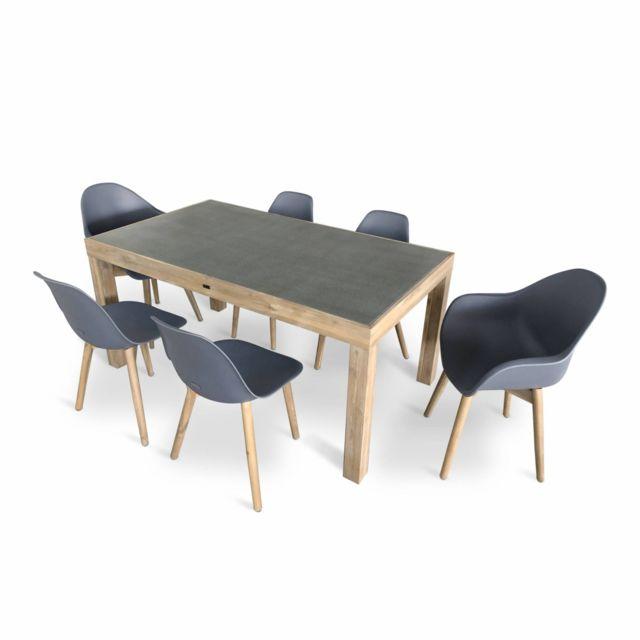 ALICE'S GARDEN Table de jardin en acacia massif et plateau effet béton 160 cm – Sumba – 2 fauteuils et 4 chaises scandinaves gris Penid