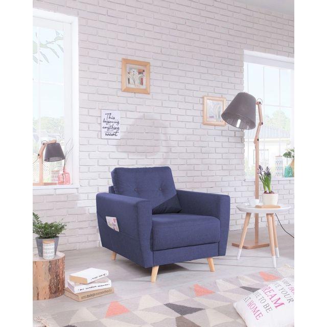BOBOCHIC Fauteuil SCANDI - Style Scandinave - Bleu