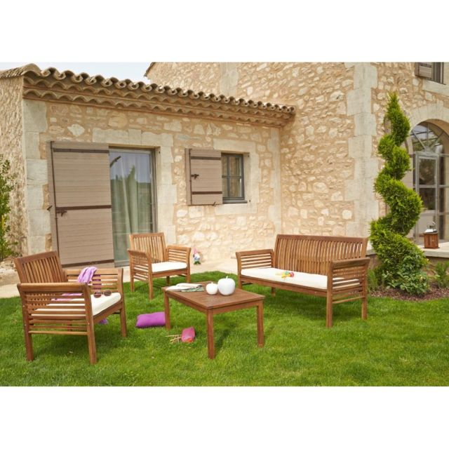 CARREFOUR - Salon de jardin HANOÏ - 1 table basse + 1 sofa + 2 ...