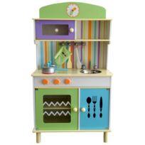 Marque Generique - Cuisine en bois avec four micro-ondes et accessoires jeu d'imitation enfant Kaley | Multicolore