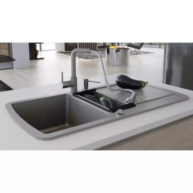 Vidaxl Evier De Cuisine En Granit Double Bac Gris Pas Cher