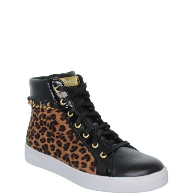 8ef18d8309cf Guess - Baskets Gloria ref gue37291-leopard Noir - pas cher Achat   Vente Baskets  femme - RueDuCommerce