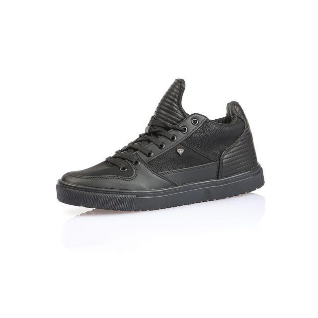 Cash Money Sneaker noir basse homme avec effet cuir matelassé