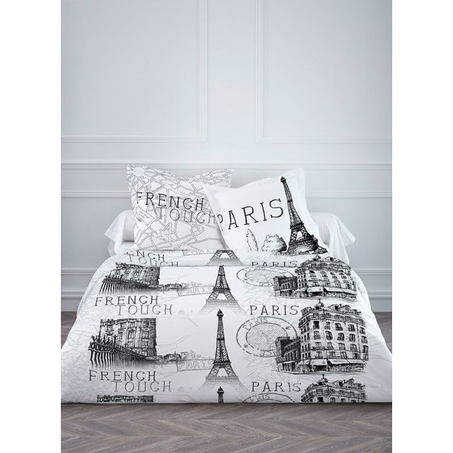 sans marque housse de couette 220 x 240 cm taies french touch pas cher achat vente. Black Bedroom Furniture Sets. Home Design Ideas