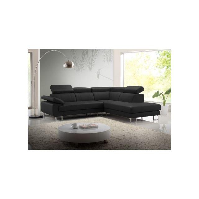 Vente-unique Canapé d'angle cuir Colisee - Noir - Angle droit