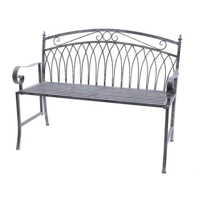 jardideco banc de jardin en m tal gris pas cher achat vente banc de jardin rueducommerce. Black Bedroom Furniture Sets. Home Design Ideas
