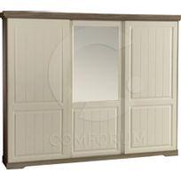 COMFORIUM - Armoire 260x220 cm à 3 portes coulissantes dotées d'un miroir supérieur au centre coloris porcelaine truffe
