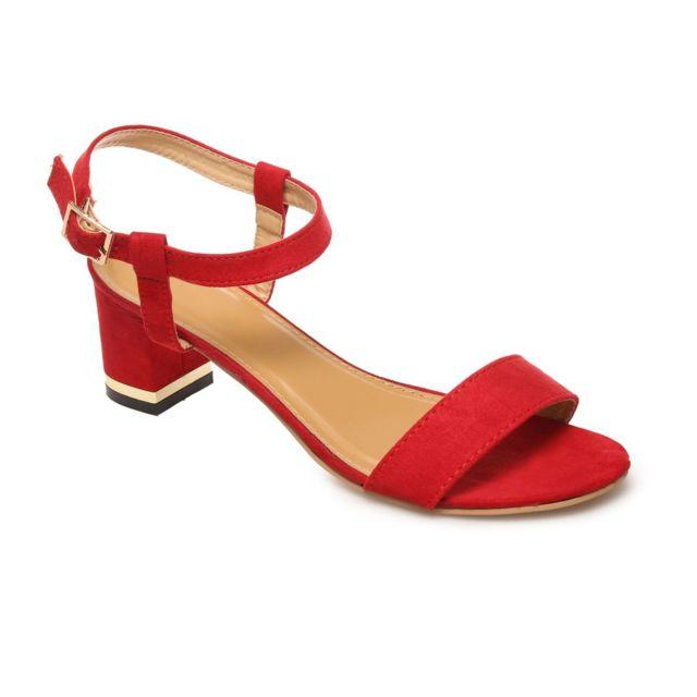 meilleur fournisseur classcic achat spécial La Modeuse - Sandales rouges à petit talon carré - pas cher ...